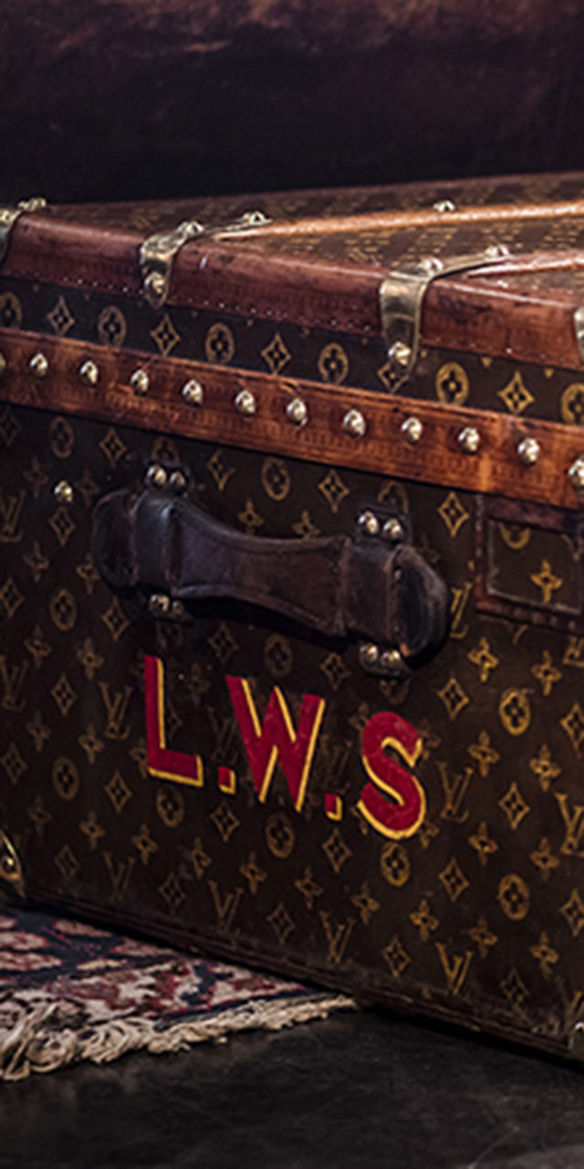 1920'S Louis Vuitton Low Trunk Customised With Initials L.W.S.